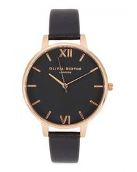 Olivia Burton | Black Big Dial Rose Gold-plated Watch | Lyst