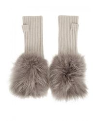 Hockley - Multicolor Frida Fur-trimmed Cashmere Fingerless Mittens - Lyst