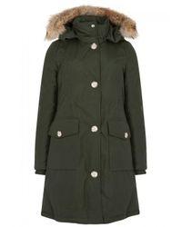 Woolrich Green Arctic Fur-trimmed Cotton Blend Parka - Size M