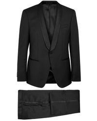 BOSS Black | Hanfrey Black Satin-trimmed Wool Suit for Men | Lyst