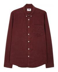 NN07 Purple Falk Burgundy Brushed Twill Shirt - Size M