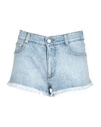 Stella McCartney   Light Blue Frayed-star Denim Shorts   Lyst