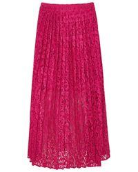 Markus Lupfer Pink Ruby Fuchsia Lace Midi Skirt