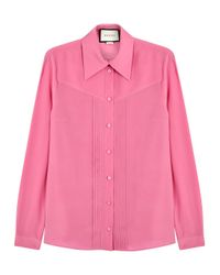 Gucci | Pink Embellished Silk Blouse | Lyst