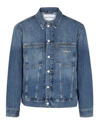 Calvin Klein Blue Logo-embroidered Denim Jacket for men