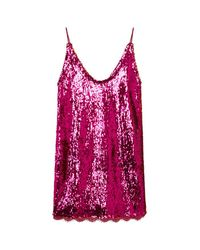 Free People - Pink Seeing Double Sequinned Mini Dress - Lyst