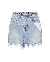 Ksubi Blue Mini Moss Distressed Denim Mini Skirt