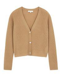 Vince Natural Camel Rib-knit Cashmere Cardigan