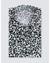 Hawes & Curtis Black & White Animal Print Fitted Satin Blouse
