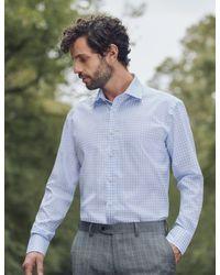 Hawes & Curtis Formal Blue/white Grid Check Slim Fit Shirt for men