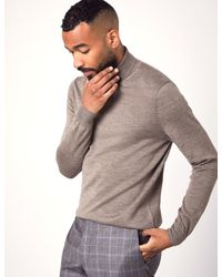 Hawes & Curtis Multicolor Taupe Roll Neck Merino Wool Slim Fit Jumper for men