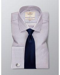 Hawes & Curtis Blue Formal Navy & White Grid Check Slim Fit Shirt for men