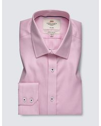 Hawes & Curtis Pink Curtis Formal Dogstooth Check Extra Slim Fit Shirt for men