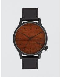 Komono Black Winston Wood Watch for men