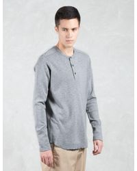 Wings + Horns Multicolor 1 X 1 Slub Rib L/s Henley T-shirt for men