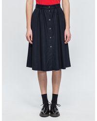 Maison Kitsuné Blue Flannel Oki Butonned Skirt