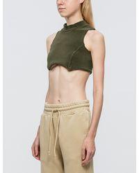Yeezy | Green Raw Edged Crop Top | Lyst