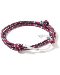 Miansai   Red Silver Hook On Burgundy Rope Bracelet   Lyst