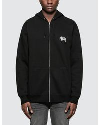 Stussy - Black Basic Zip Hoodie for Men - Lyst