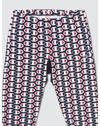 Champion Blue All Over Print Sweat Pants for men