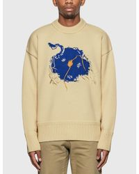 ADER ERROR White Embroidered Crew Neck Sweater for men