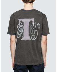 Stussy Black Column Pig. Dyed T-shirt for men