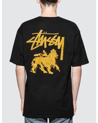 Stussy | Black Stock Lion T-shirt for Men | Lyst