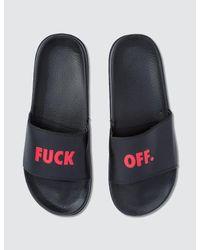 Raised By Wolves Black F*** Off Slides for men