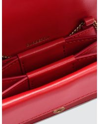 Burberry Red Grainy Leather Card Case With Detachable Strap