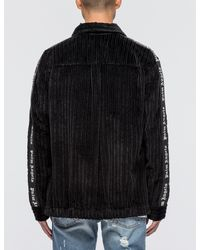 Palm Angels Black Velvet Coach Shirt for men