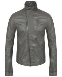 Rick Owens Gray Stooges Biker Leather Jacket Euca Grey for men