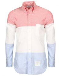 Thom Browne | Stripe Panel Oxford Shirt Red for Men | Lyst