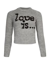 DSquared² Gray Love Is... Wool Cropped Sweater
