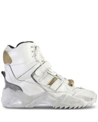 Maison Margiela White Deconstructed Hi-top Leather Sneakers