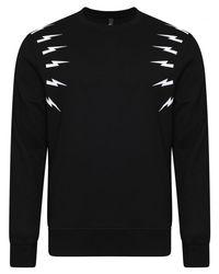 Neil Barrett Black Lightning Print Slim Fit Sweater for men