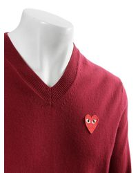 Comme des Garçons Play Mens Red Heart V-neck Jumper Burgundy for men