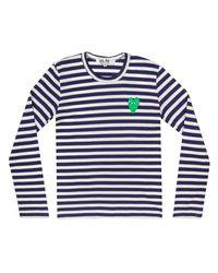 Comme des Garçons Play Mens Stripe Green Heart T-shirt Navy for men