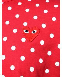 Comme des Garçons Play Mens Red Heart Polka Dot T-shirt Red for men