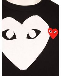 Comme des Garçons Play Mens White Heart Logo T-shirt Black for men