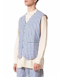 Péro Soft Blue Pinstrip Waistcoat for men