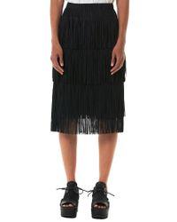 Issey Miyake Black Fringed Pleated Skirt