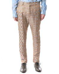 Haider Ackermann | Blue Checkered Jacquard Silk-linen Trouser | Lyst