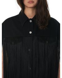 MM6 by Maison Martin Margiela Black Long Fringed Vest