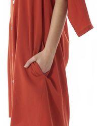 Nancy Stella Soto Red Deconstructed Button-down Shirt-dress