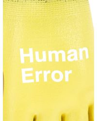 Undercover Yellow Rubber-coated Gloves for men