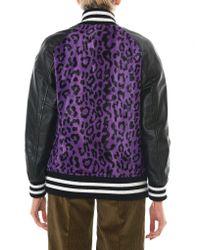 Junya Watanabe - Purple Leather-paneled Leopard-print Faux Fur Bomber Jacket - Lyst