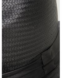 Ilariusss Black Geometric Brim Raffia Hat