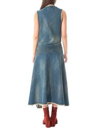 Junya Watanabe Blue Distressed Denim Dress