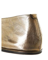 Marsèll Metallic Gold Leather Ballerina Flats