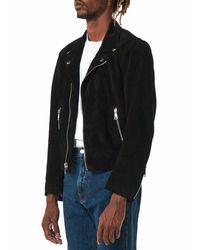 Second/Layer Black Leather Biker Jacket for men
